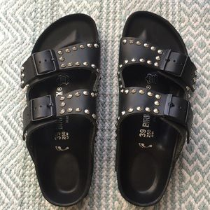 Silver Studded Black Leather Birkenstock Arizona